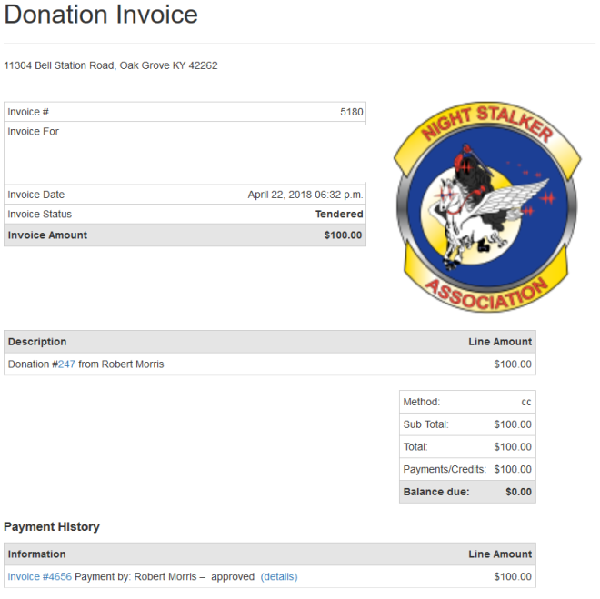 Clear Skys LLC Donation to 160th Night Stalker Association.png